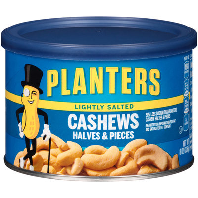 Planters Lightly Salted Halves & Pieces Cashews Can
