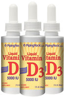 Piping Rock Vitamin D3 2000 IU 3 Bottles x 1 fl oz Liquid