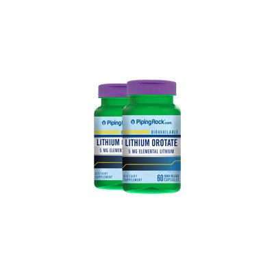 Piping Rock Lithium Orotate 5 mg 2 Bottles x 60 Capsules