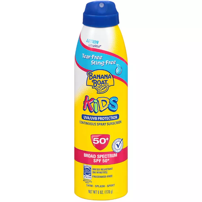 Banana Boat Kids Tear-Free Sting-Free UltraMist Lotion Continuous Spray Sunscreen With SPF 50