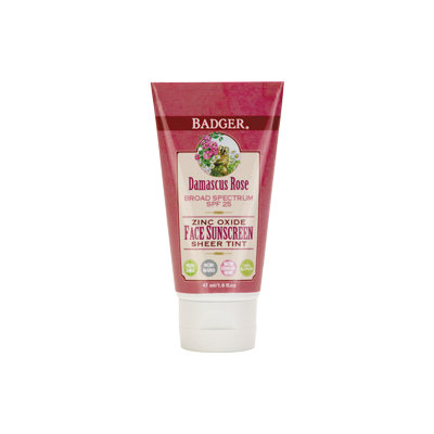 BADGER® Damascus Rose SPF 20 Sheer Tint Face Sunscreen Lotion with Lavender and Chamomile