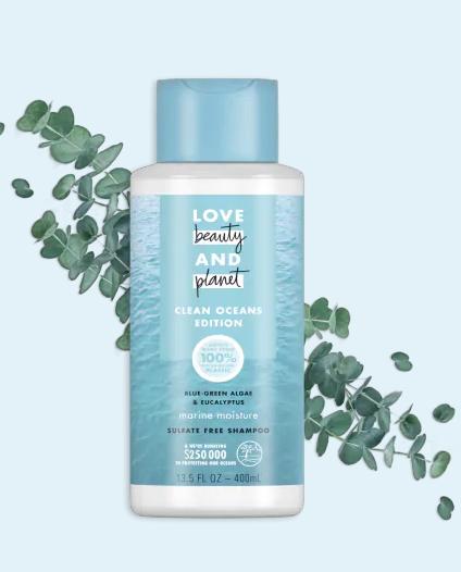 b67e6f91d8b2 Love Beauty And Planet Marine Moisture Cleansing Shampoo Clean Oceans  Edition Blue Green Algae & Eucalyptus Sulfate Free