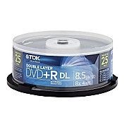 TDK 8X DVD+R 8.5GB Double Layer 25 pack Spindle