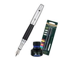 Monteverde Invincia Fountain Pen W/6 Blue Refills and 1 Blue Ink Bottle, Chrome