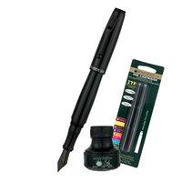 Monteverde Invincia Color Fusion Fountain Pen W/6 Black Refills & 1 Black Ink Bottle, Stealth Black