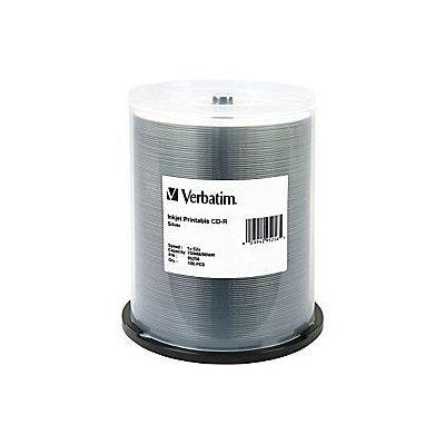 VERBATIM cd-r media 52x 700MB 80min silver inkjet printable w/spindle