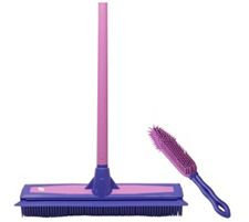 Don Aslett's Rubber Broom and Hand Brush Set