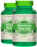 Piping Rock Max Whole Greens/Whole Foods Multi 2 Bottles x 240 Coated Caplets
