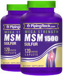 Piping Rock Mega MSM 1500 + Sulfur 2 Bottles x 120 Coated Caplets