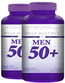 Piping Rock Mega Multiple Vitamin for Men 50 Plus 2 Bottles x 200 Coated Caplets