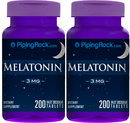Piping Rock Melatonin 3 mg 2 Bottles x 200 Tablets