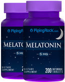 Piping Rock Melatonin 5 mg 2 Bottles x 200 Fast Dissolve Tablets