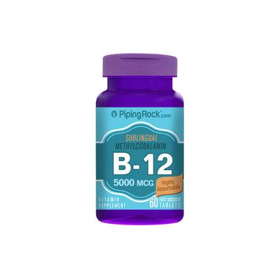 Piping Rock B-12 Methylcobalamin 5000mcg Sublingual 60 Fast Dissolve Tablets