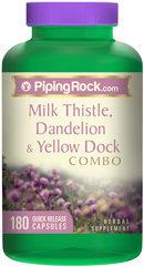 Piping Rock Milk Thistle, Dandelion & Yellow Dock 180 Capsules