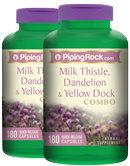 Piping Rock Milk Thistle, Dandelion & Yellow Dock 2 Bottles x 180 Capsules