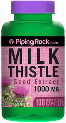 Piping Rock Milk Thistle Seed 1000mg Extract 100 Capsules