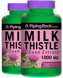 Piping Rock Milk Thistle Seed Extract 1000 mg 2 Bottles x 200 Capsules