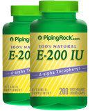 Piping Rock Natural Vitamin E-200 IU 2 Bottles x 200 Liquid Capsules