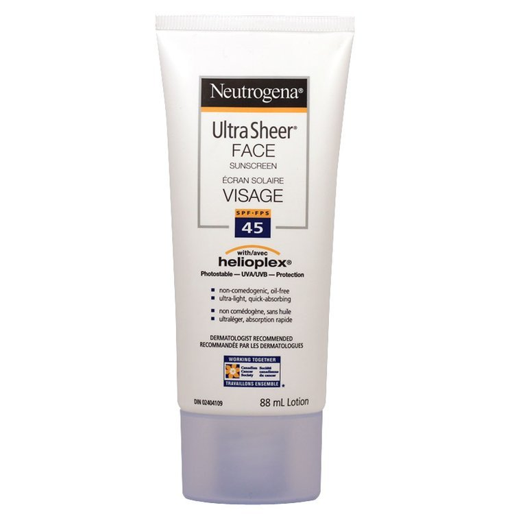 Neutrogena Ultra Sheer Face Sunscreen, SPF 45, 88 mL