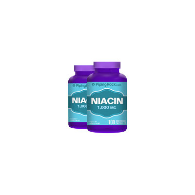 Piping Rock Niacin 1000mg 2 Bottles x 100 Capsules