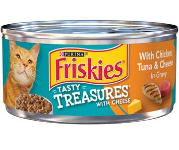 Friskies® Tasty Treasures with Chicken Tuna & Cheese in Gravy Cat Food