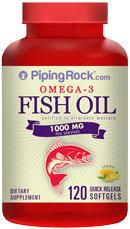 Piping Rock Omega-3 Fish Oil 1000mg 120 Softgels