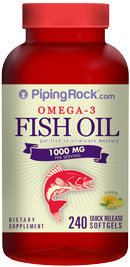 Piping Rock Omega-3 Fish Oil 1000mg 240 Softgels