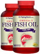 Piping Rock Omega-3 Fish Oil 1200mg 2 Bottles x 240 Softgels