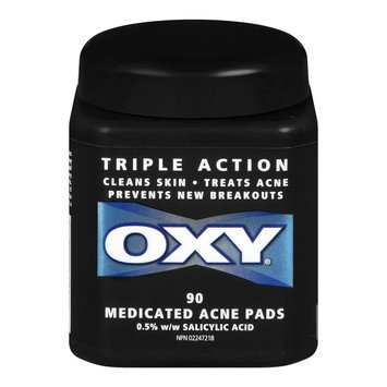 Oxy Triple Action Medicated Acne Pads, 0.5% Solution, 90 Pads