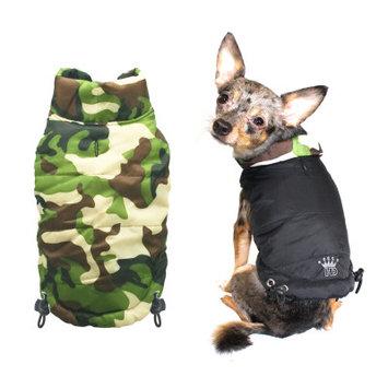 Hip Doggie Inc Hip Doggie Reversible Puffer Vest - Black/Camo, Big Dog XL