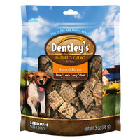 Dentley's Nature's Chews Natural Flavor Medium Breed Dried Lamb Lung Cube Dog Treat