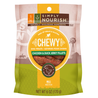 Simply Nourish Grain Free Gluten Free Chewy Duck Jerky Fillets Dog Treat
