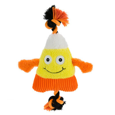 Top Paw Pet Halloween Candy Corn Tug Dog Toy Squeaker