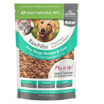 Only Natural Pet RawNibs Pet Food - Freeze Dried Raw, Grain Free, Venison Liver