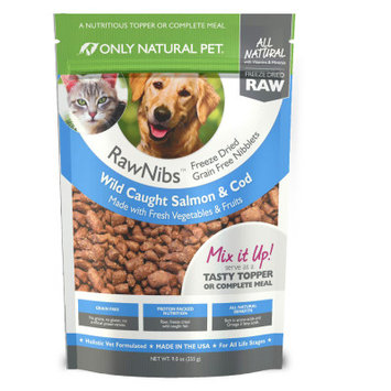 Only Natural Pet RawNibs Pet Food - Freeze Dried Raw, Grain Free, Salmon Cod