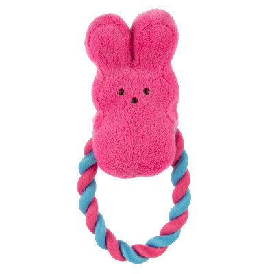 Peeps Bunny Rope Ring Dog Toy - Squeaker, Pink