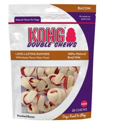 Kong Double Chew Mini Dog Treat - Bacon