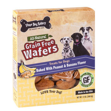 Three Dog Bakery Wafers Dog Treat - Natural, Grain Free, Peanut Banana
