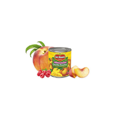 Del Monte® Yellow Cling Peach Chunks in Raspberry Flavored Light Syrup