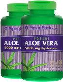 Piping Rock Aloe Vera 5000 mg 2 Bottles x 150 Softgels