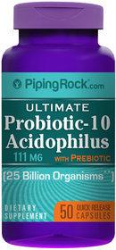 Piping Rock Probiotic-10 FOS 25 Billion 50 Capsules Acidophilus