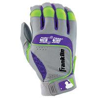 Franklin Sports Shok-Sorb Neo Batting Glove Grey/Purple/Lime Youth Large