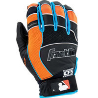 Franklin Sports Shok-Pro Batting Glove Black/Blue/Orange Adult Small