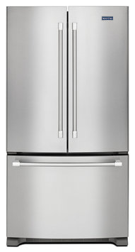 Maytag MFC2062DEM 20 cu. ft. Counter-Depth French Door Refrigerator with Stainless Steel Handles, Ice Maker, Frameless Glass Shelves and Humidity Controlled FreshLock Crispers
