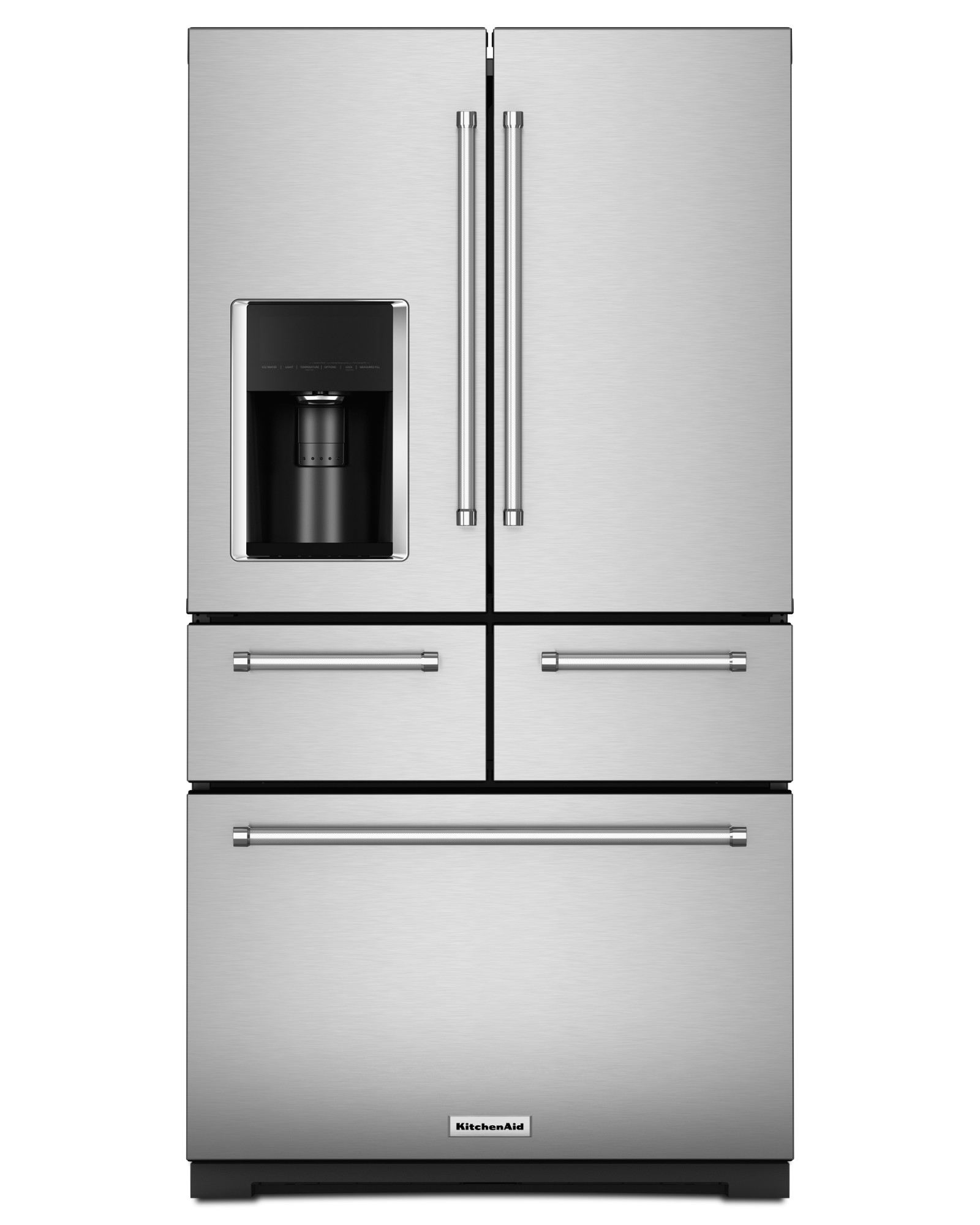KitchenAid KRMF706ESS 25.8 cu. ft. French Door Refrigerator with 5 Shelves, 4 Door Bins, Herb Storage, 5-Door Configuration, Preserva Food Care System and Measured Water Fill