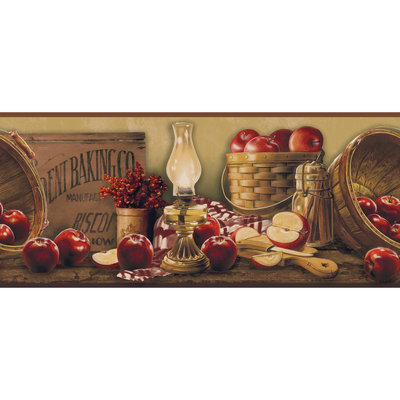 York Wallcoverings KE4914BD Border Book Apple Basket Border