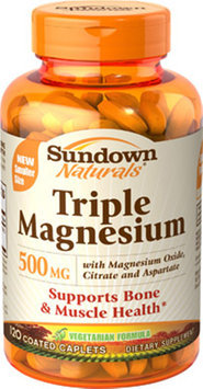 Us Nutrition Sundown Naturals Triple Magnesium Dietary Supplement Coated Caplets, 500mg, 120 count
