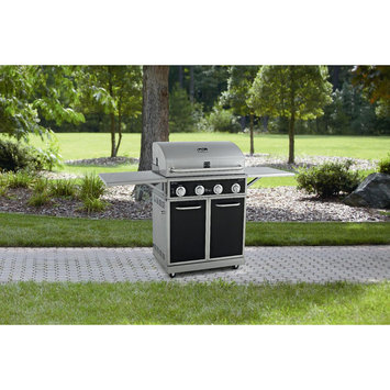 D & H Black 4 Burner Gas Grill With Folding Side Shelves and lit knobs
