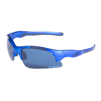 Global Vision Eyewear Corporation Metallic Blue Semi Rimless Frame-Gry Polarized Lens
