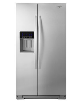 Whirlpool WRS586FIEM 25.6 cu. ft. Side-by-Side Refrigerator with 4 Full-Width Glass Shelves, 4 Door Bins, Dairy Center, Deli Drawer, Produce Crispers, Glass Freezer Shelves and External Water/Ice Dispenser: Stainless Steel